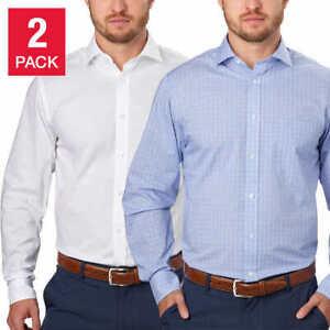 Tommy Hilfiger Men's 2-Pack Dress Shirt White Blue Many Sizes NWT U9-14
