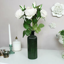 Green Glass Vase ribbed vintage flower pretty home decor emerald accessory