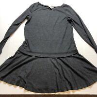 Loft Gray Knit Long Sleeve Pleated Skirt Dress Sz Small A1297