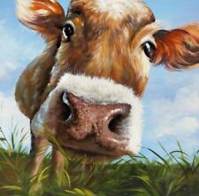 "Cow painting wall art printed on canvas 16'' X 16"" solid frame"