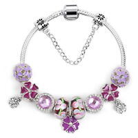 Women's Lovely Purple Flower Charms Bracelet Crystal Beads Bangle Gift Jewelry
