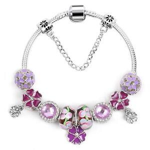 Women's Lovely Purple Flower Charms Bracelet Crystal Beads Bangle Gift Jewelry