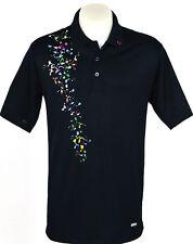 Men's Black Polo Short Sleeve Golf T-Shirt - Colour Print Detail