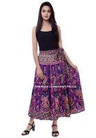Indian Handmade Rapron 100% Cotton Violet Mandala Long Wrap Around Skirt Dress