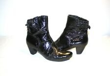Vic Matie Black Patent Leather Side Zip Low Heel Women's Ankle Boots Sz 38