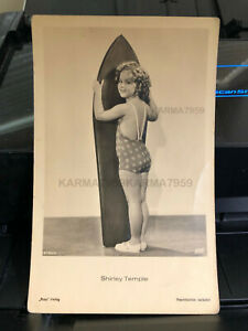 Rare 1935 SHIRLEY TEMPLE~w Duke Surfboard Hawaii RPPC Verlag Postcard SURFING-H7
