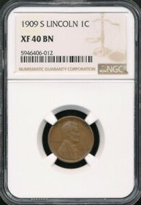 1909-S Lincoln Cent NGC XF 40 BN *Semi-Key Date!*