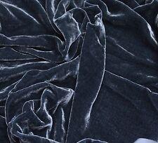 """Charcoal Gray Plush Silk Velvet Upholstery Apparel Fabric - BTY - 44"""" / 45"""""""