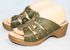 DANSKO Serena Green Leather Flower Sandal Wo's 9.5-10 Eu 40