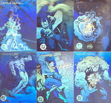 DC COSMIC TEAMS 1993 SKYBOX COMPLETE HOLOGRAM INSERT CARD SET DCH11 TO DCH16