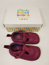 Clarks size 4.5 G (20.5) infant pink leather buckle strap first baby shoes