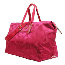 Coach XL Signature Nylon Travel Weekender Duffle Bag 77469 - Berry maroon EUC