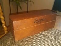 """FINE Old Vintage Antique 2-Section DARK WOOD Recipes Box~11"""" Wide~Hinged Lid!"""