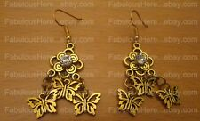 UNIQUE Gold BUTTERFLIES Dangling Earrings! /FREE SHIPPING for 10...(Handmade)