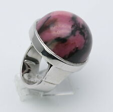 Rhodonit Ring 925 Silber-Ring mit rosa Rhodonit für Damen in Gr. 54