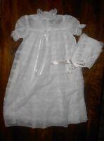 VINTAGE White Lace Baby Girl Christening Gown Dress Bonnet Set Baptism 0-6 Month