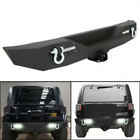 For 2007-2017 Jeep Wrangler JK Textured Rear Bumper W/ 2 LED Lights & Hitch