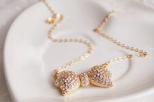 Fashion Gold Rhinestone Sparkly Bow Pendant Necklace - US Seller, Free Shipping