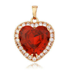 Red Ruby Crystal 9K Yellow GF of the Ocean Titanic Womens Heart Pendant,F2430