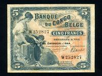 Belgian Congo:P-13Ac,5 Francs, 1944 * Woman W/ Child * VF *