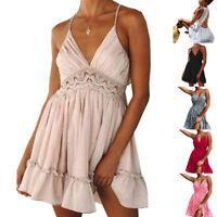 Fashion Boho Summer Dress Women Sexy Strappy Lace V Neck Backless Party Sundress