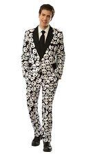 Men's Skull Face Costume Suit Black and White Halloween Tuxedo Medium