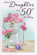 50th DAUGHTER BIRTHDAY CARD AGE 50 ~ QUALITY CARD WITH NICE VERSE  BY IC&G