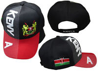 Kenya Country Black Red White Letter Crest Patch On Side Embroidered Hat Cap