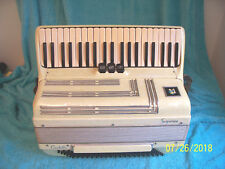 "Soprani 120 bass Accordion 3 & 4 Reeds 17"" keys, White  Accordian Italy G cond."