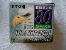 5pack Brand New MAXELL MD80 Pure Platinum Minidisc - Factory sealed