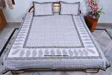 Indian Cotton Decorative Block Printed Bed Sheet Bedspread & 2 Pillow Cover Boho