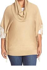 Michael Kors Fringed Sweater Plus Size 3X Dark Camel Cotton Blend NWT MSRP $110