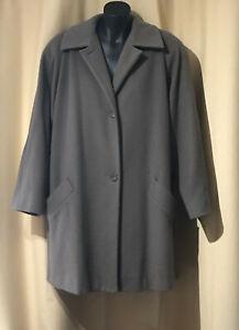 JNY Jones New York Size XL Vintage 100% Wool Overcoat Oversize Coat Long Beige