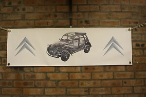 Citroen 2cv6 Dolly  large pvc  WORK SHOP BANNER garage  SHOW banner