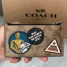 Star Wars X Coach Signature Canvas Zip Card Case Wallet with Patches R2-D2 3CPO