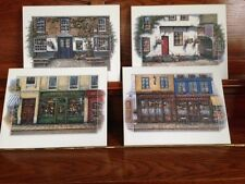 SET OF 4 PARIS & LONDON STREET SCENE PICTURES WALL ART ON WOOD