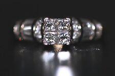 $2,899 One 1 Carat Princess Quad Natural Diamond 14K White Gold Engagement Ring!