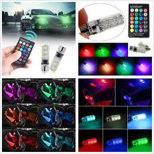 2x Car T10 RGB LED Lights Reading Light Bulb Multi-color Variable Lamps & Remote