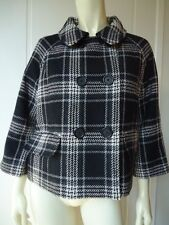 DKNY JEANS Plaid Sherlock Holmes Mod Coat Blazer L Double Breast Lined SO CHIC!