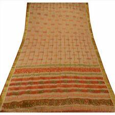 Tcw Vintage Peacock Printed Saree 100% Pure Cotton Craft Fabric Cream Cultural S