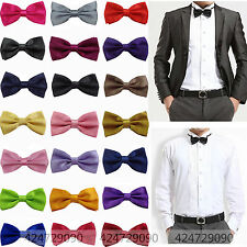Men's Solid Color Classic Bowtie Pre Tied Wedding Satin Bow Tie Neckwear YJB0001