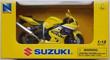 Newray-suzuki gsx-r600 amarillo 1:18 nuevo/en el embalaje original motocicleta-modelo