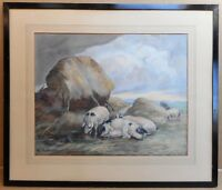 Gloucestershire Old Spots Pigs. Original Oil by H. Hutchison circa 1910
