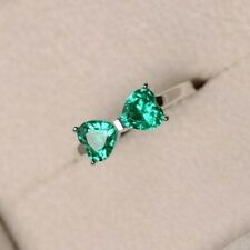 4Ct Heart Cut Emerald Synt Diamond Bow Tie Gift Shape Ring White Gold Fns Silver