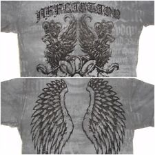 Affliction Winged Lions Crest Front Angel Wings Back 2 Sided T Shirt XL Black
