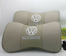 2x Gray Auto Car Seat 100% Cowhide Neck Rest Belt Headrest Pads Protect for NEW