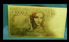 "★★ BILLET POLYMER  ""OR "" DU 1000 FRANCS MINERVE HERCULE ● DESTOCKAGE ★★ REF9 ★★"