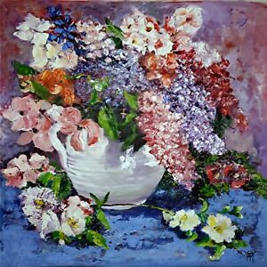 YARY DLUHOS ORIGINAL OIL PAINTING Flowers Floral Spring Vase Bouquet Still Life