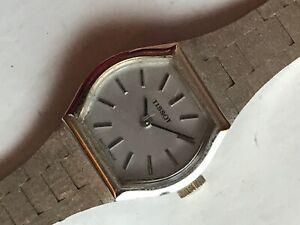 Vintage Tissot Ladies White Plated Bracelet Watch. Manual Wind.