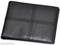 One New Men's Leather Bi-Fold Wallet Black One Size